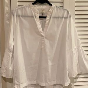 White split neck blouse with bell sleeves